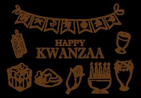 Handdragen Kwanzaa Ikoner Vektor