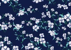 Dogwood Seamless Pattern on Blue Background