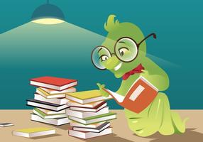 Cute Book Worm Vector