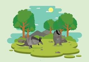 Free Wild Armadillo Inside Forest Illustration