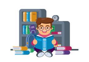 Niño, lectura, libro, Ilustración vector
