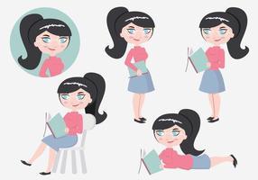 Vectores del personaje de Bookworm del estudiante