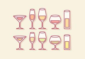 Vector Outline Mocktail Glasses