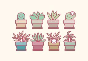 Vector Outlined Potted Flowers