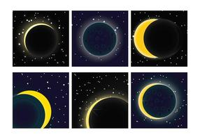 Solar eclipse vector set