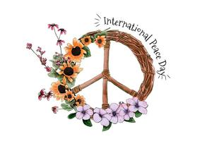 Vattenfärg International Peace Day Vector