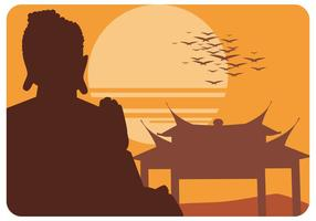 Silhouette of Buddah Statue Vector