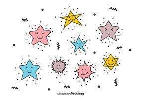 Estrellas sonrientes Doodle Vector Set