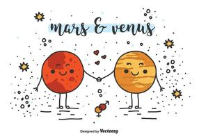 Mars And Venus Vector Background