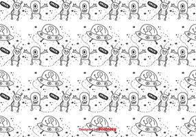 Space Aliens Vector Pattern