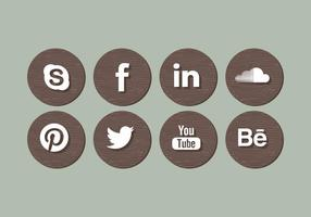 Vector Wood Social Media Icons