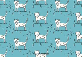 Cat On Branch Vector Pattern