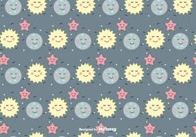Sun, Moon And Star Vector Pattern