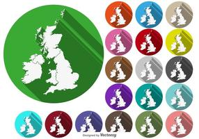 Botões do mapa de British Isles / Uk do vetor