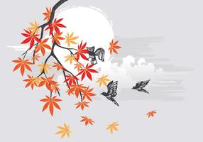 Autumn japanese maple with birds and beautiful landscape background