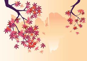 Smooth Japanese Maple Plant with Waterfall Background and Fall Maple Leaves