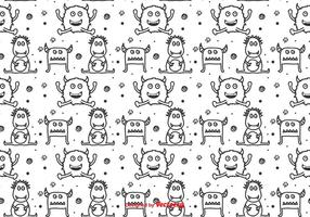 Monochromatic Monsters Vector Pattern