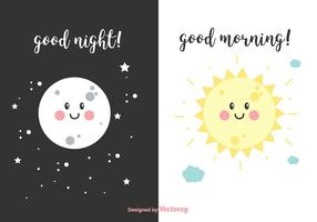 Night And Morning Vector Cards