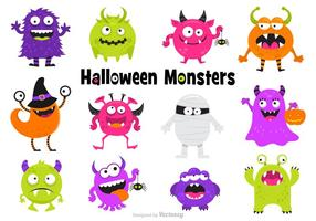 Cute Scary Halloween Monsters Vector Set