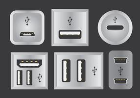 USB-poort vector iconen