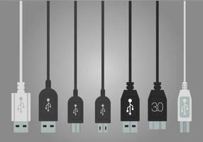 USB port vector set