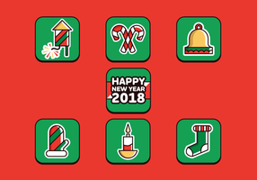 Merry Christmas And Happy New Year 2018 Free Vector Pack
