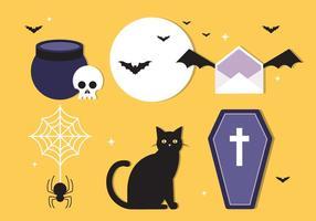 Diseño de vector plano libre elementos de Halloween e iconos