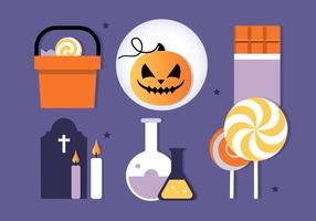 Gratis Flat Design Vector Halloween Elements Illustratie