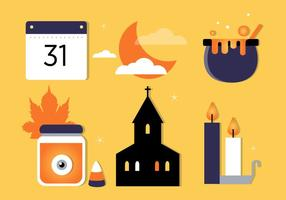 Free Flat Design Vector Halloween Elements Illustration