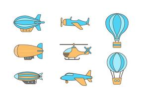 Free Dirigible and Air Transport Vectors