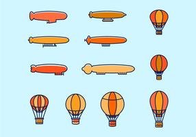 Hot Air Balloon en Dirigible Vectors