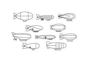 Livre Dirigible Collection Line Icon Vector