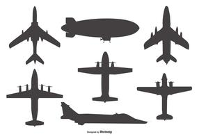 Vector Airplane and Blimp Silhouettes