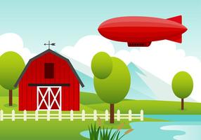 Vetor Dirigible Balloon Over Farm