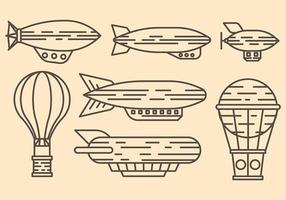 Dirigible Hot Air Baloon Blimp Vector Icons