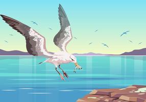 Albatros Vang Een Visvector