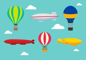Dirigible Set Gratis Vector
