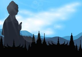 Silhuett av Buddah i templet Vector