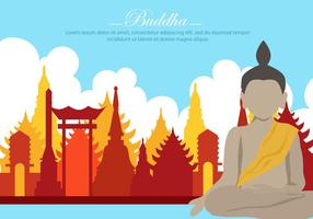 Buddha In The Temple Vector