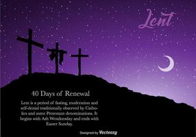 Vector Lent Banner For Easter With Three Crosses