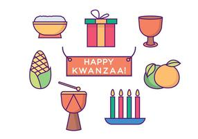Happy Kwanzaa Icons vector