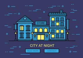 Free Linear Night Cityscape Vector Background