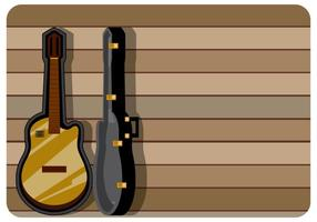 Classic-guitar-case-with-wooden-background-vector