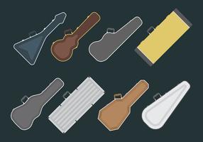 Iconos del vector de la caja de la guitarra