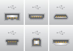 Vector de conexión de puerto USB realista