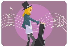 Guitariste Girl Vector