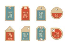 Vetores de etiquetas de papelão com ilhóes