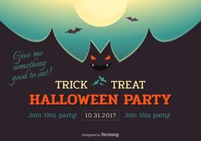 Halloween Bat Party Vector Poster
