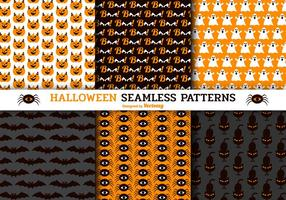 Cute Halloween Seamless Vector Patterns