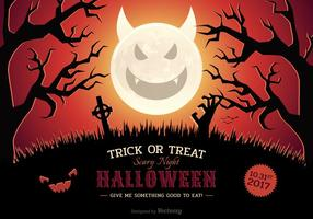 Halloween Vector Scary Night Poster With Evil Moon